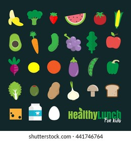 Set of flat design icons for healthy food.