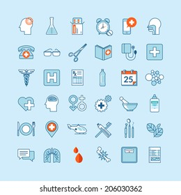 Set of flat design icons for medicine and health care