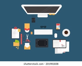 Set of Flat Design Icons. Mobile Phones, Tablet PC, Marketing Technologies, Mobile Apps, Email, Video Services and Money Management.