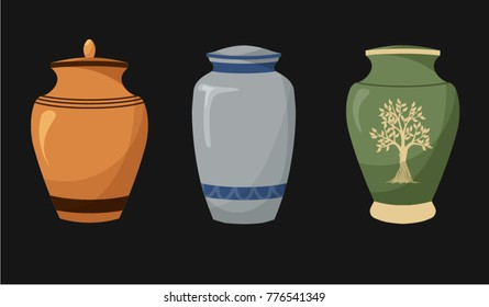 Set of flat design icons of urns for ashes. Cremation and funeral urn with dust. Burial and dead man. Isolated. Vector illustration.