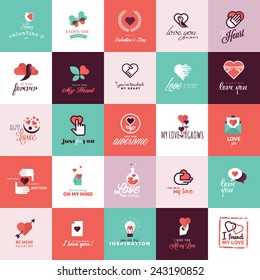 Set of flat design icons for Valentine day
