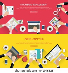 Set of Flat design ideas for business analysis and planning, teamwork consulting, project management, financial reporting and strategy. Web banner concept and illustration