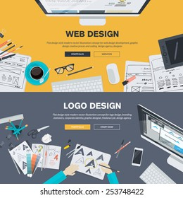 Set of flat design illustration concepts for web design development, logo design, graphic design, design agency. Concepts for web banner and printed materials.