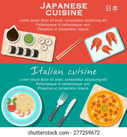 Set of flat design illustration concepts for japanese cuisine and italian cuisine web banners and printed materials, with pizza, pasta, sushi, fish.