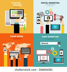 set of flat design illustration concepts for video and digital marketingconcepts for business planning