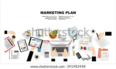 Set of flat design illustration concepts for business plan and marketing plan. Concepts for web banner and promotional material.