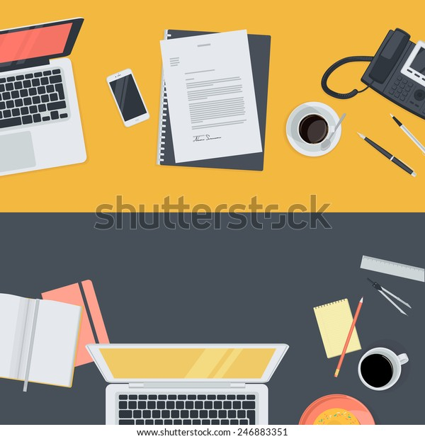 Set of flat design illustration concepts for online education, staff training, courses, retraining, specialization. Concepts for web banners and promotional materials.