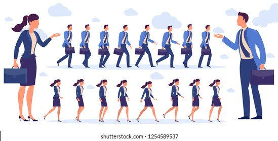Set of  flat design man and  woman character animation poses - speaking, shopping, talking phone, arm crossed, finger up, hand shake, winner,  siting, meditation, relaxation etc.