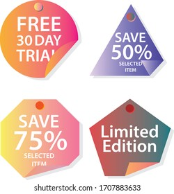 Set of flat design sale stickers. Vector illustrations for online shopping.