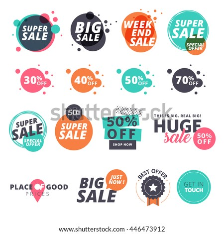 9a3638bb2ea9f Set of flat design sale stickers. Vector illustrations for online shopping