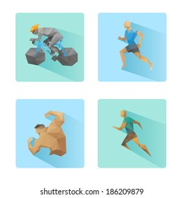 Set of flat design sport icons isolated on a white background, vector illustration