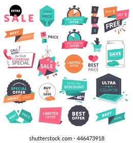 Set of flat design style badges and elements for shopping. Vector illustrations for website and mobile website, product promotion, sale banner template, ads, coupons, print material.