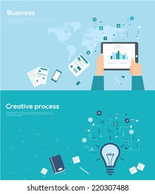 Set of flat design style for business and creative process infographics.  Vector Illustration