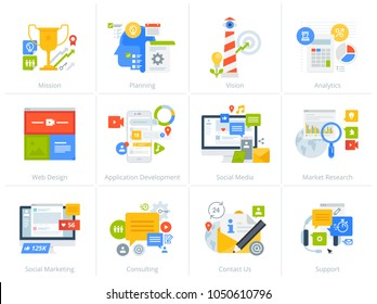Set of flat design style concept icons isolated on white. Vector illustrations for business, management, consulting, communication, marketing, market research, app and web development, social media.