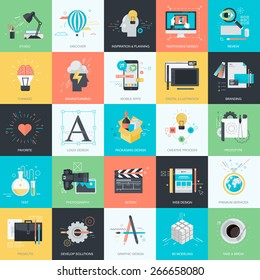 Set of flat design style concept icons for graphic and web design. Icons for website design, graphic design, mobile apps development, corporate identity, packaging design, logo design, stationary.