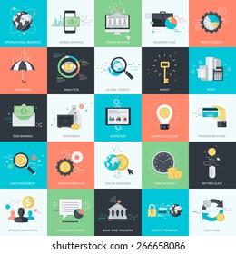 Ensemble d'icônes de concept de style de design plat pour le graphisme et le web design. Icônes pour la finance, la banque, la banque mobile, les affaires, l'investissement, le marketing, le commerce électronique.