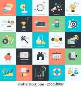 Set of flat design style concept icons for graphic and web design. Icons for internet marketing, business, finance.