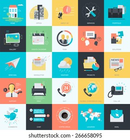 Set of flat design style concept icons for graphic and web design. Basic icons for websites and apps design and development.