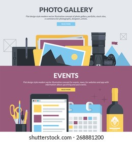 Set of flat design style concepts for photo gallery, portfolio, stock sites, e-commerce, events, news. Concepts for website banners and printed materials, for designers, photographs, artists.