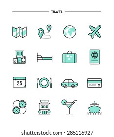 set of flat design, thin line travel icons, vector illustration