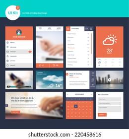 Set of flat design UI and UX elements for website and mobile app design