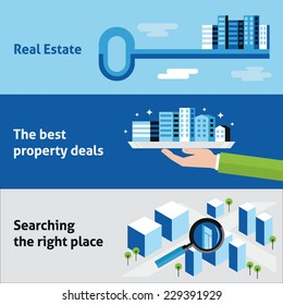 Set of flat design vector illustration concepts for real estate business, offering residential and commercial buildings, searching apartments and offices for rent isolated on stylish backgrounds