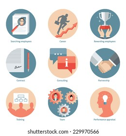 Set of flat design vector illustration icons for human resource management, recruiting, teamwork, consulting, signing up contract, staff training and development, successful career isolated on white