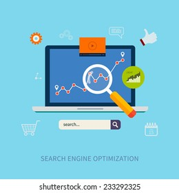 Set of flat design vector illustration concepts for search engine optimization and web analytics elements.