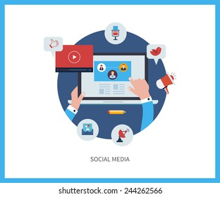 Set of flat design vector illustration concepts for online communication and social media. Concepts for web banners and printed materials.
