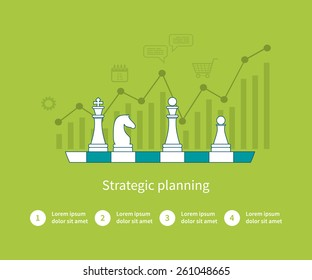 Set of flat design vector illustration concepts for data analysis, strategy planning and successful business. Thin line icons