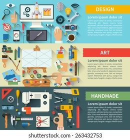 Set of flat design vector illustration concepts for creative process : fine art, web design, handmade
