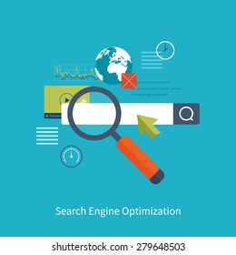 Set of flat design vector illustration concepts for search engine optimization and web analytics elements. Mobile app.