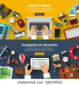 Set of flat design vector illustration concept banners for traveling, planning a summer vacation, online booking, tourism, journey in summer holidays