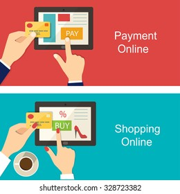 Set of flat design vector illustration concepts shopping online and payment online