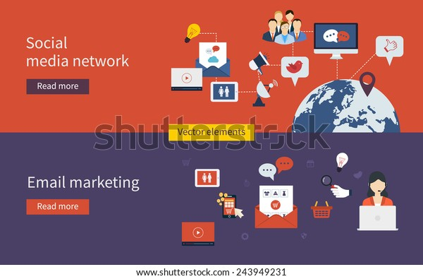 Set of flat design vector illustration concepts of online shopping, social media network, mobile marketing and digital marketing.