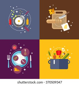 Set of Flat Design Vector Illustrations with Kitchen Appliances and Food. Bread on a Cutting Board. Fried Eggs in a Frying Pan. Served dish. Soup in the Pan
