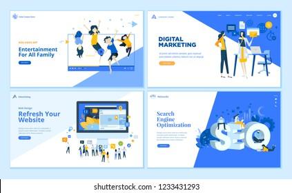 Set of flat design web page templates of SEO, web development, digital marketing, family entertainment. Modern vector illustration concepts for website and mobile website development.