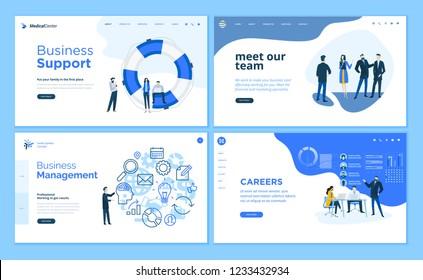 Set of flat design web page templates of business support, management, our team, career. Modern vector illustration concepts for website and mobile website development.