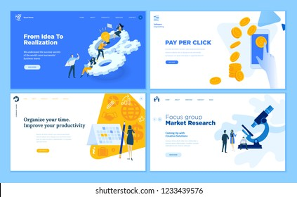 Set of flat design web page templates of startup, development process, market research, pay per click, time management. Modern vector illustration concepts for website and mobile website development.