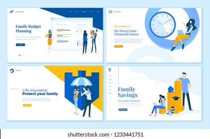 Set of flat design web page templates of family savings, budget planning, life insurance, time management. Modern vector illustration concepts for website and mobile website development.