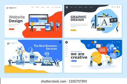 Set of flat design web page templates of graphic design, website design and development, social media, business services. Modern vector illustration concepts for website and mobile website development