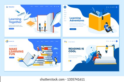 Set of flat design web page templates of school, e-learning, book store, educated services. Modern vector illustration concepts for website and mobile website development.