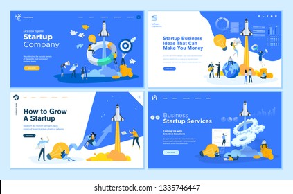 Set of flat design web page templates of startup company, business ideas, consulting, crowdfunding. Modern vector illustration concepts for website and mobile website development.