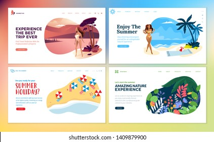 Set of flat design web page templates of summer vacation, travel destination, nature, tourism. Modern vector illustration concepts for website and mobile website development.