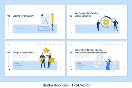 Set of flat design web page templates of graphic design, seo, market research, data analysis, internet services. Modern vector illustration concepts for website and mobile website development.