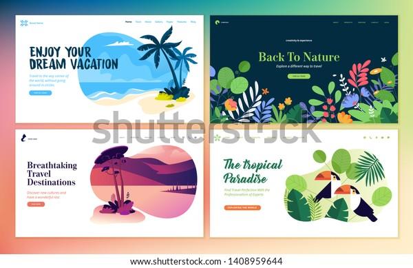 Set of flat design web page templates of summer vacation, travel destination, nature, tourism . Modern vector illustration concepts for website and mobile website development.
