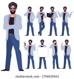 Set of flat design young indian sikh businessman characters. Various poses and gestures, everyday activities. Working, chatting, phonning, working and showing different emotions.