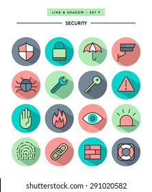 set of flat design,long shadow, thin line security icons, vector illustration