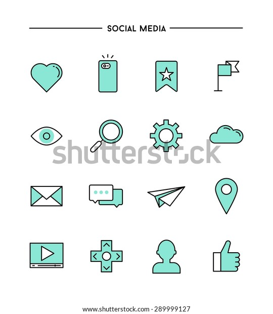 Set Flat Designthin Line Social Media Stock Vector Royalty Free 289999127