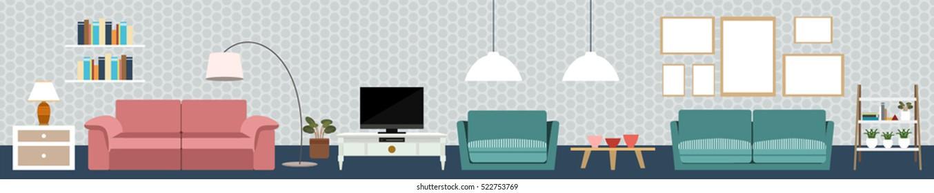 Set Flat Elements Interior Design Concept Stock Vector (Royalty Free ...